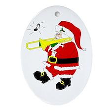 Santa Plays Trombone Christmas Oval Ornament