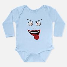 Funny evil grining face Long Sleeve Infant Bodysui