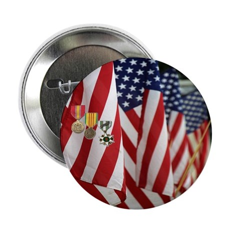 "Flag and Medals 2.25"" Button (10 pack)"