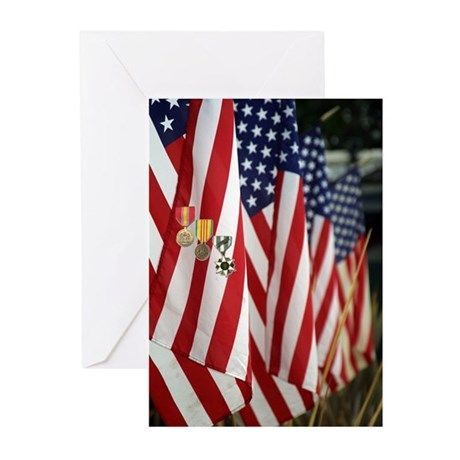 Flag and Medals Greeting Cards (Pk of 10)