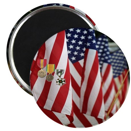 """Flag and Medals 2.25"""" Magnet (100 pack)"""