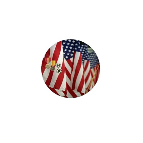 Flag and Medals Mini Button (10 pack)