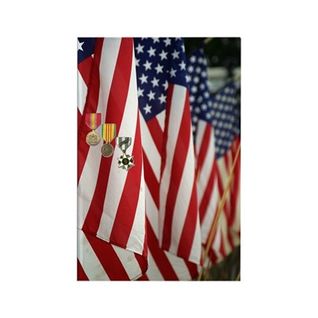 Flag and Medals Rectangle Magnet