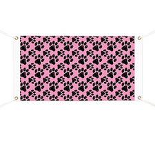 Dog Paws Pink Banner