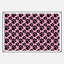 Dog Paws Pink Banner