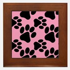 Dog Paws Pink Framed Tile