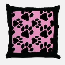 Dog Paws Pink Throw Pillow