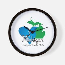 I Heart Michigan Wall Clock