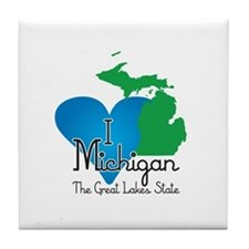 I Heart Michigan Tile Coaster