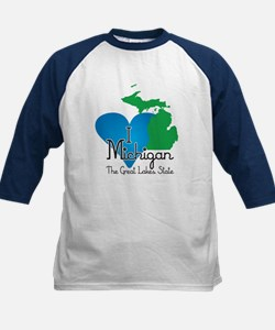 I Heart Michigan Kids Baseball Jersey