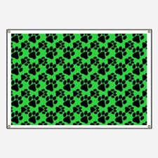 Dog Paws Green Banner