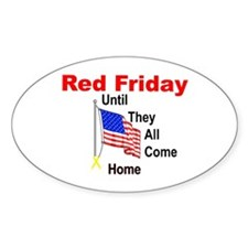 Red Friday (yellow ribbon) Oval Decal