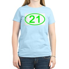 Number 21 Oval Women's Pink T-Shirt