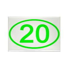 Number 20 Oval Rectangle Magnet (10 pack)