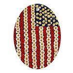 Flower Power US Banner Ornament (Oval)