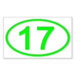 Number 17 Oval Rectangle Sticker
