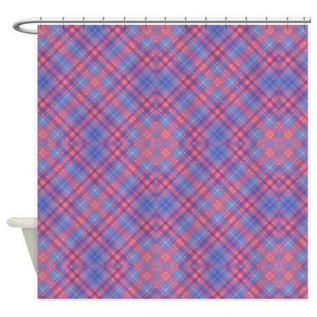 Colorful Blue And Pink Lattice Shower Curtain By GraphicAllusions