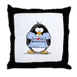 Shopping Penguin Throw Pillow