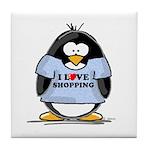 Shopping Penguin Tile Coaster