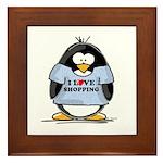 Shopping Penguin Framed Tile