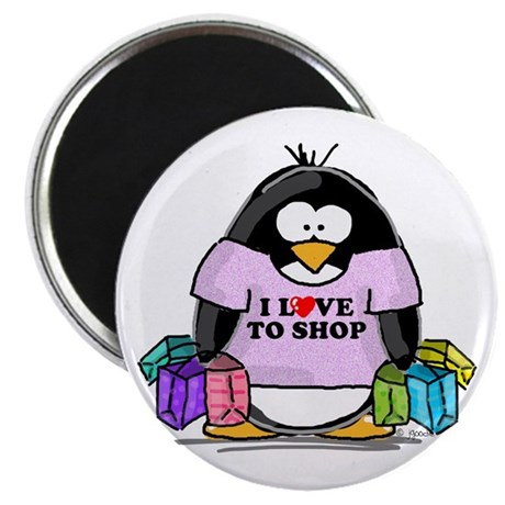 """Love To Shop Penguin 2.25"""" Magnet (10 pack)"""