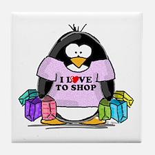 Love To Shop Penguin Tile Coaster