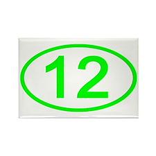 Number 12 Oval Rectangle Magnet