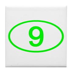 Number 9 Oval Tile Coaster