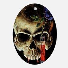Skull and Rose Oval Ornament