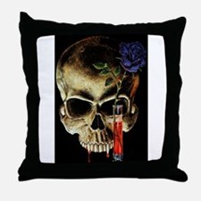 Skull and Rose Throw Pillow