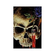 Skull and Rose Rectangle Magnet