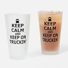 Keep Calm and Keep Truckin' Drinking Glass