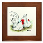 White Japanese Bantams Framed Tile