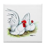 White Japanese Bantams Tile Coaster