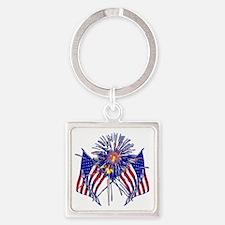 Celebrate America fireworks Square Keychain