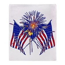 Celebrate America fireworks Throw Blanket