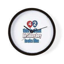 42 year old birthday boy designs Wall Clock