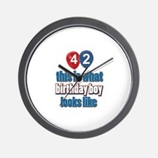 42 year old birthday boy designs Wall Clock