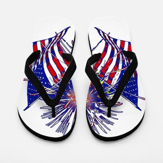 Celebrate America fireworks Flip Flops
