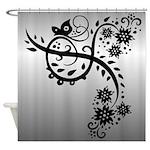 Elegant Floral Butterfly Design Shower Curtain