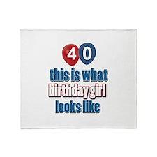 40 year old birthday girl designs Throw Blanket
