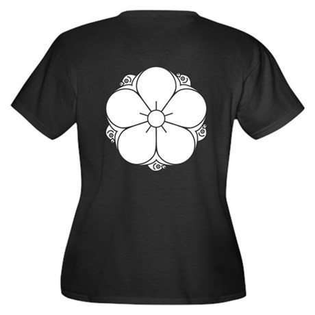 Tanakura ume Women's Plus Size V-Neck Dark T-Shirt