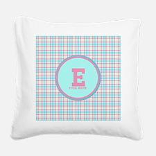 Monogram Pastel Plaid Square Canvas Pillow