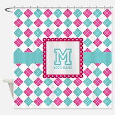 Personalized Monogram Argyle Shower Curtain