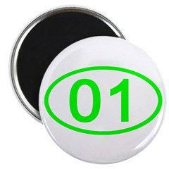 Number 01 Oval Magnet