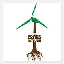 "Roots of Green Energy Square Car Magnet 3"" x 3"""