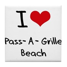 I Love PASS-A-GRILLE BEACH Tile Coaster