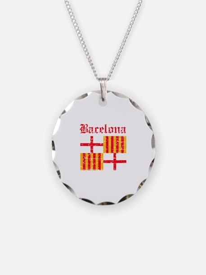 Bacelona flag designs Necklace Circle Charm