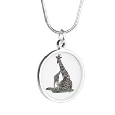 Giraffe Family Silver Round Necklace