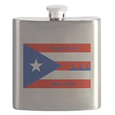 Puerto Rico New York Flag Lady Liberty Flask
